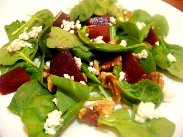Roasted Beet, Walnut and Spinach Salad with Blue Cheese